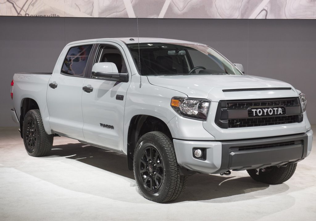 A Toyota Tundra truck on display at an auto show