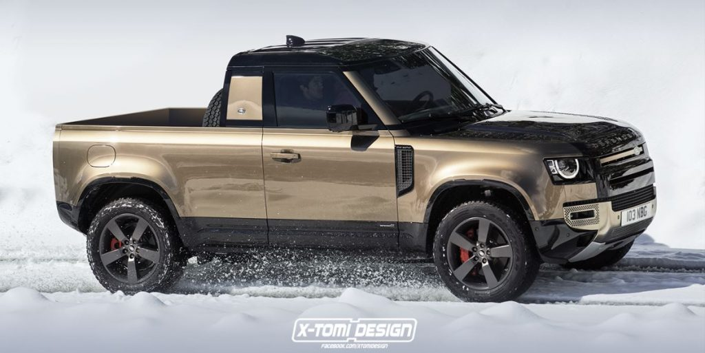 A Land Rover Defender pickup rendering shown on a snowy road.