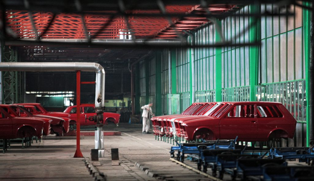 A Yugo car production line