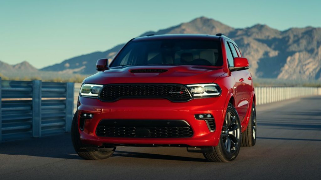 2021 Dodge Durango parked in front of mountains