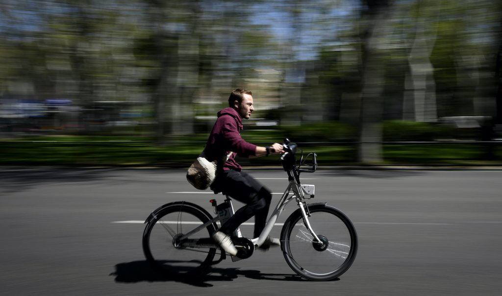 electric bicycle riding in the city