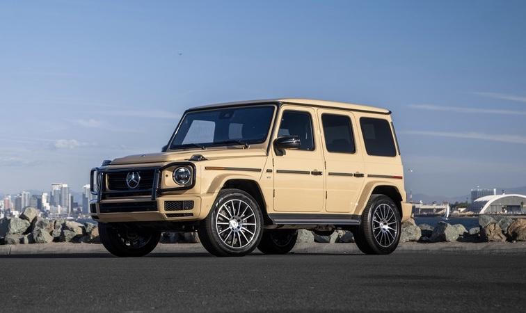 tan 2020 Mercedes-benz g-wagon press photo