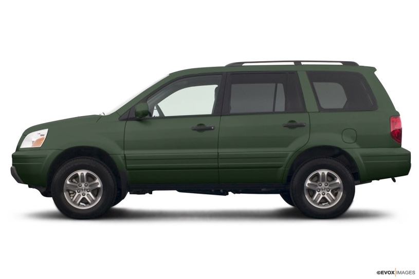green 2005 Honda Pilot from the side in a press photo against a white backdrop