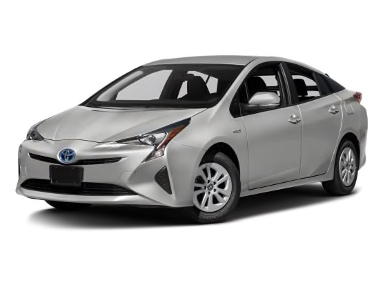 three-quarter front view of a silver Prius against a white backdrop