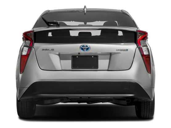Toyota Prius press photo shows view of rear windshield and rear bumper