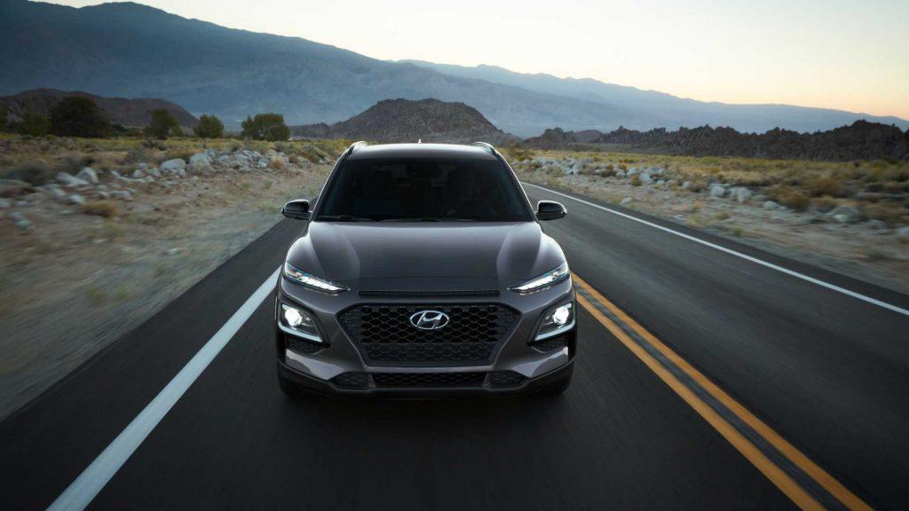 2021 Hyundai Kona Night Edition driving down road