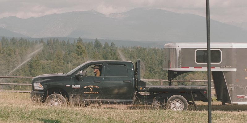 Yellowstone Ram Truck pulling a horse trailer