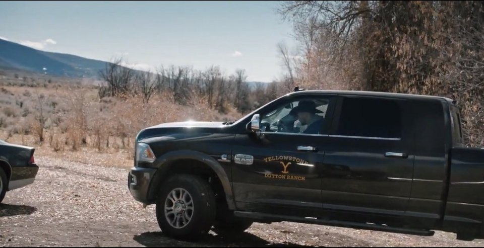 a Ram pickup truck from with the Dutton Ranch logo from the Yellowstone TV series