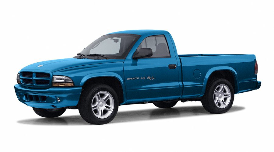 a press photo of a Dodge Dakota pickup truck against a white backdrop