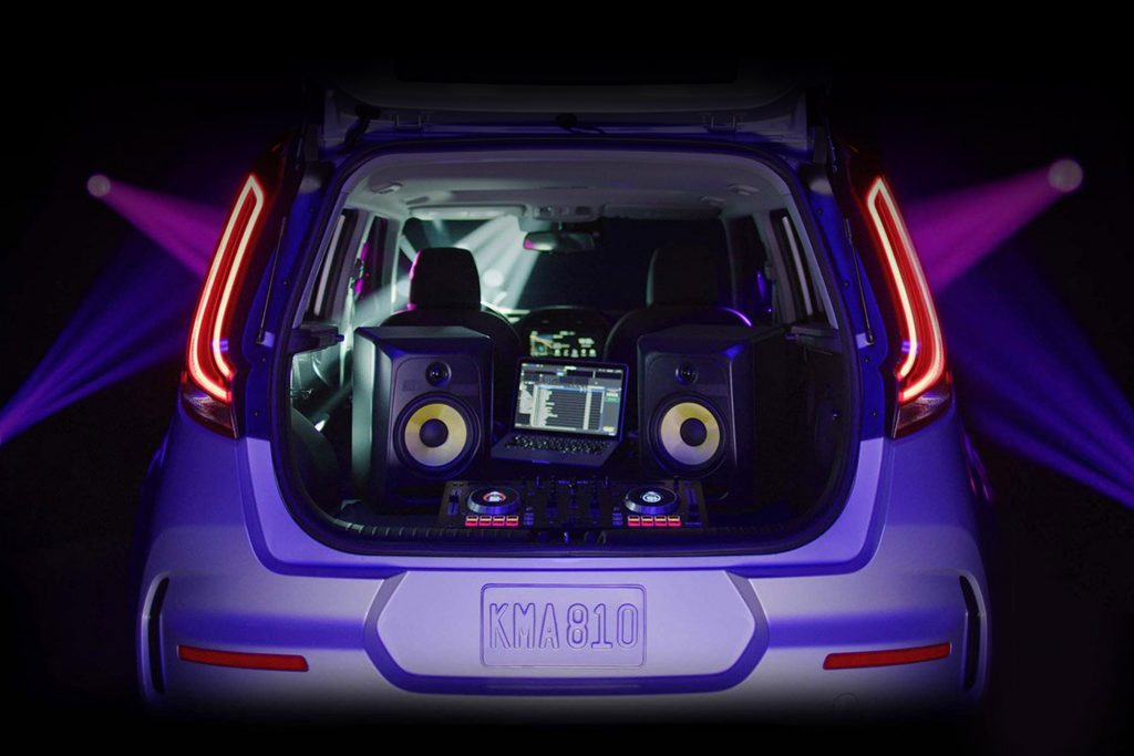 DJ setup in the back of a kia soul