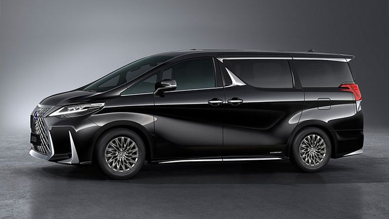 press photo of the side of a black Lexus LM luxury minivan executive vehicle