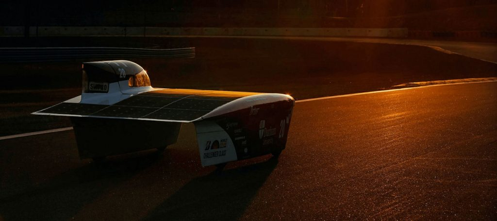 A solar-powered race car. | World Solar Challenge