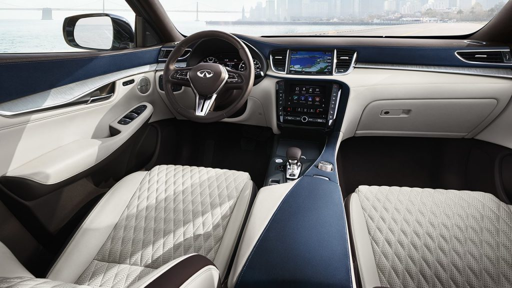 a 2020 Infiniti QX50 with beige leather seats |