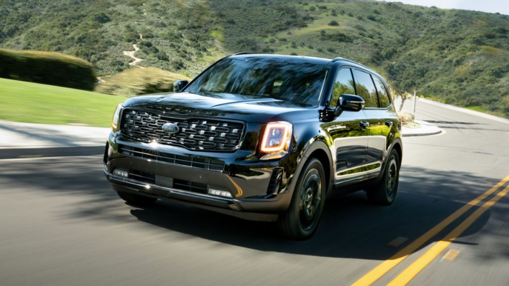 Kia Telluride Nightfall Edition Black driving on road