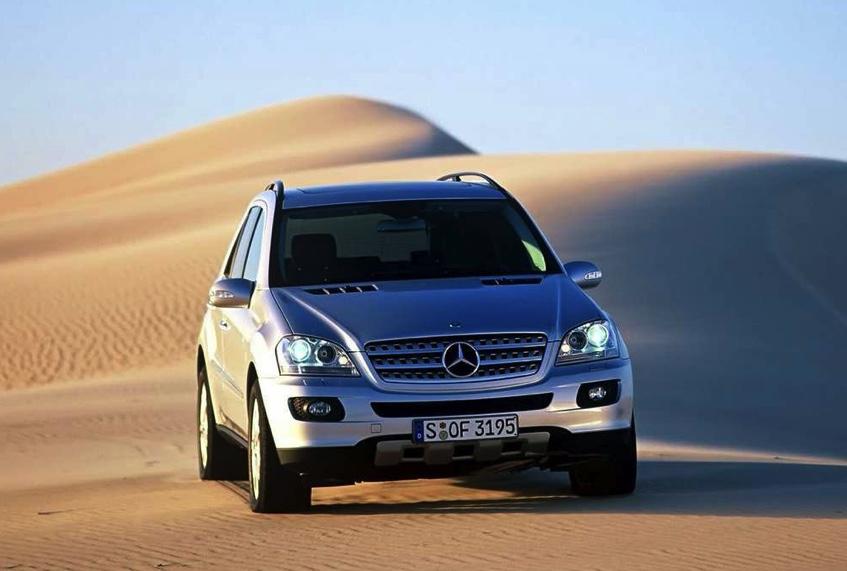 ML350 driving on sand dunes in the desert