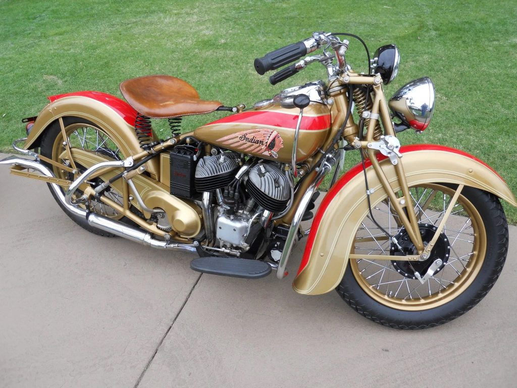 A gold-and-red 1939 Indian Sport Scout