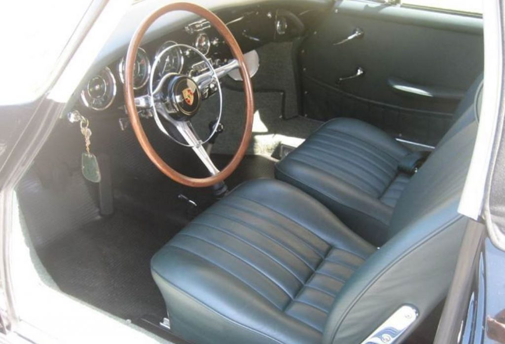 The black interior of a 1965 Porsche 356 SC Cabriolet
