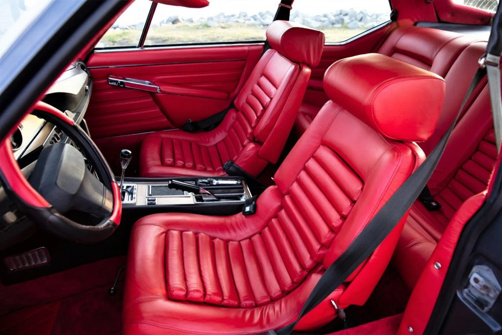 A 1972 Citroen SM's red leather interior
