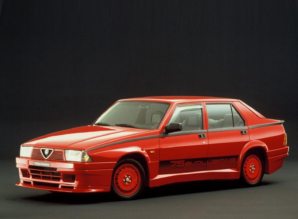 A red 1987 Alfa Romeo 75 Turbo Evoluzione