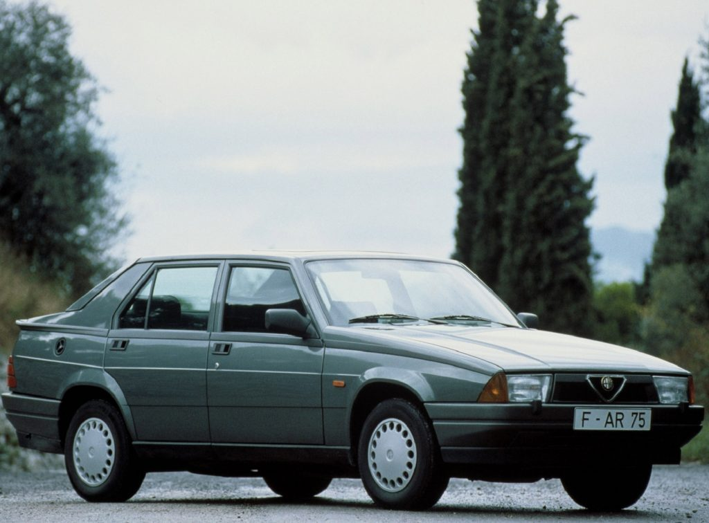 A green-gray 1988 Alfa Romeo 75