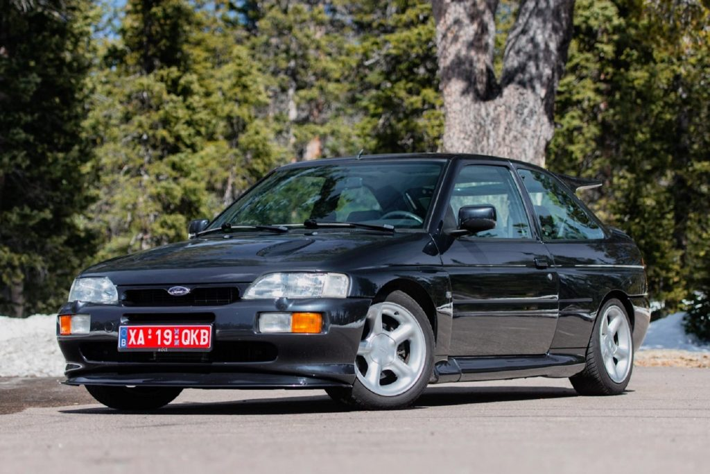 A black 1994 Ford Escort RS Cosworth