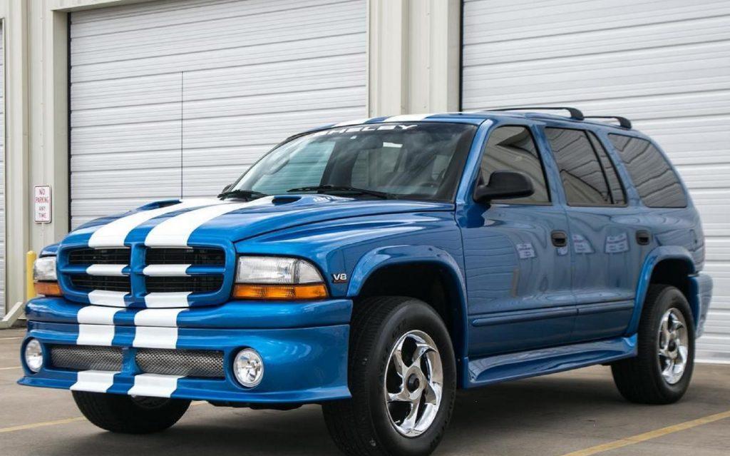 A blue-with-white-stripes 1999 Dodge Durango Shelby SP-360
