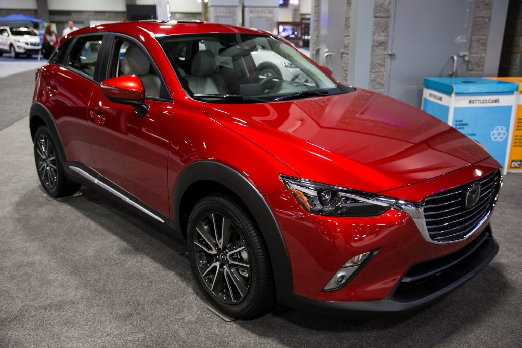 A 2016 Mazda CX-3 on display at the Washington Auto Show