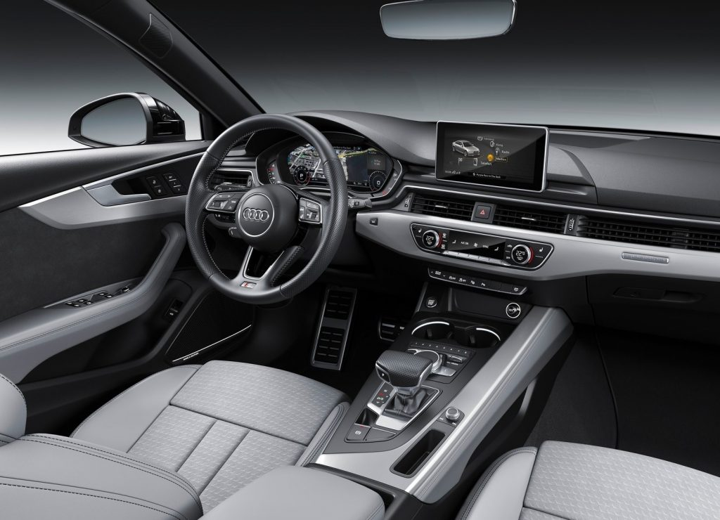 The grey-and-silver interior of the 2019 Audi A4