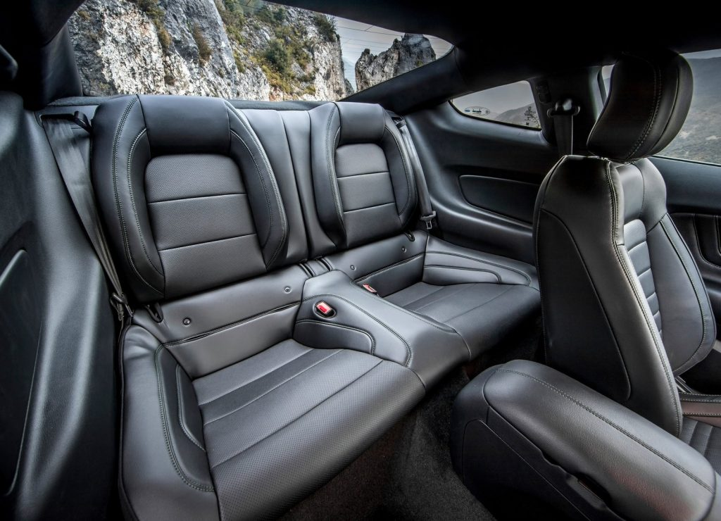 The rear black-leather seats of the 2019 Ford Mustang Bullitt