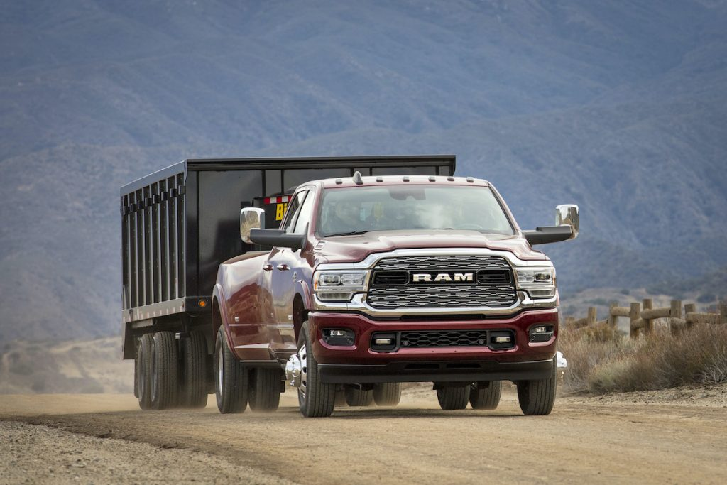 2019 Ram 3500 Heavy Duty Limited Crew Cab Dually diesel hauling in the desert