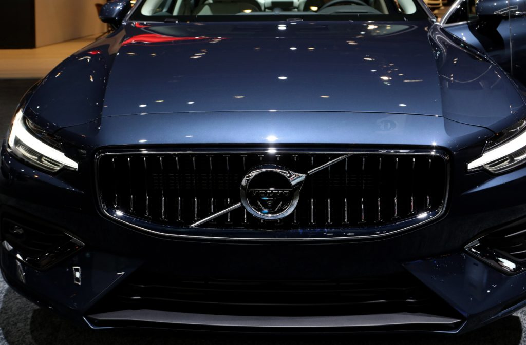 A 2019 Volvo S60 on display at an auto show