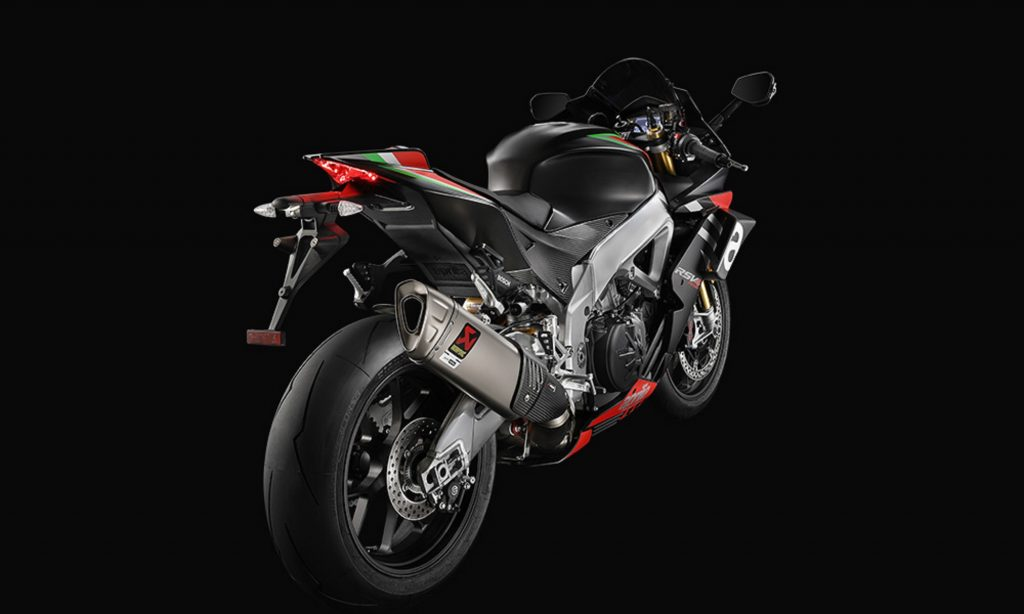 The rear view of the 2020 Aprilia RSV4 1100 Factory