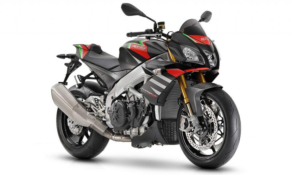 A black-with-red-and-green 2020 Aprilia Tuono V4 1100 Factory