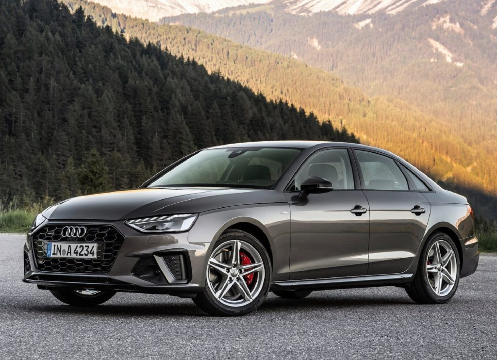 A gray 2020 Audi A4 sedan in the mountains