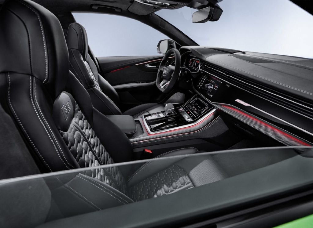 The black-with-red-elements 2020 RS Q8's interior