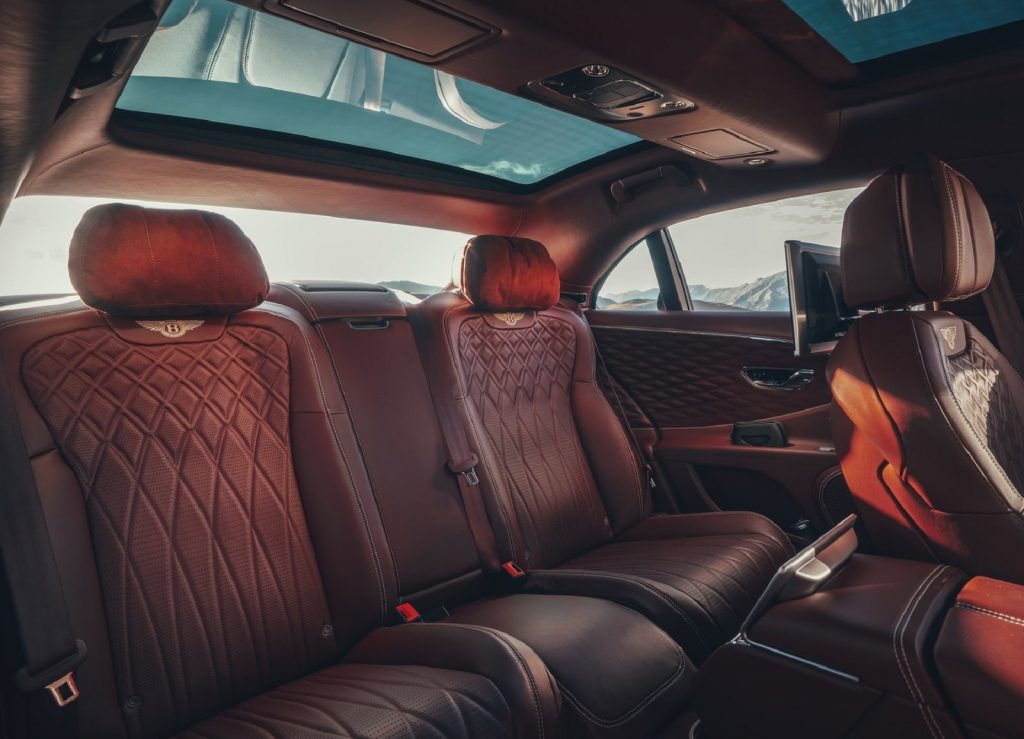 The 2020 Bentley Flying Spur's dark-brown quilted leather rear car seats