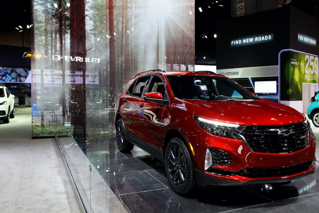 2020 Chevy Equinox on display at an auto show