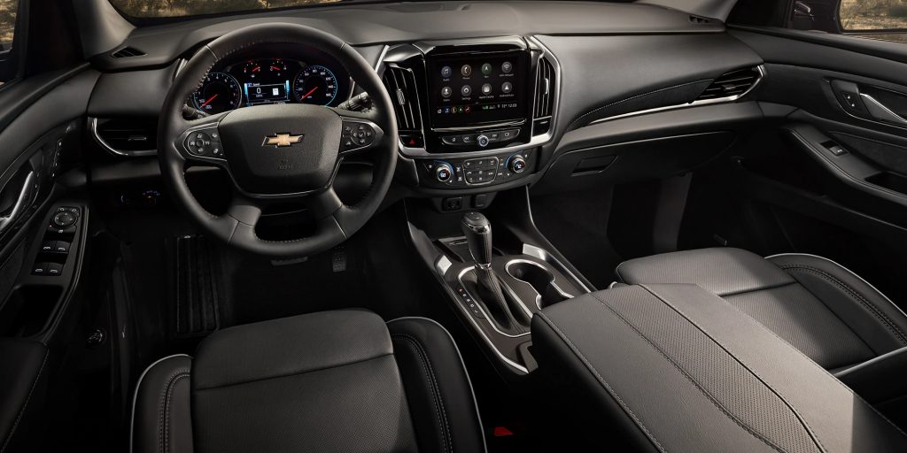 The 2020 Chevrolet Traverse's black interior