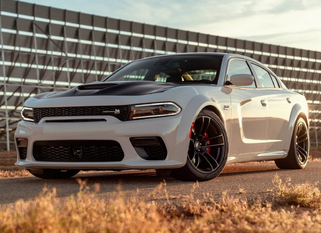 A white 2020 Dodge Charger Scat Pack Widebody