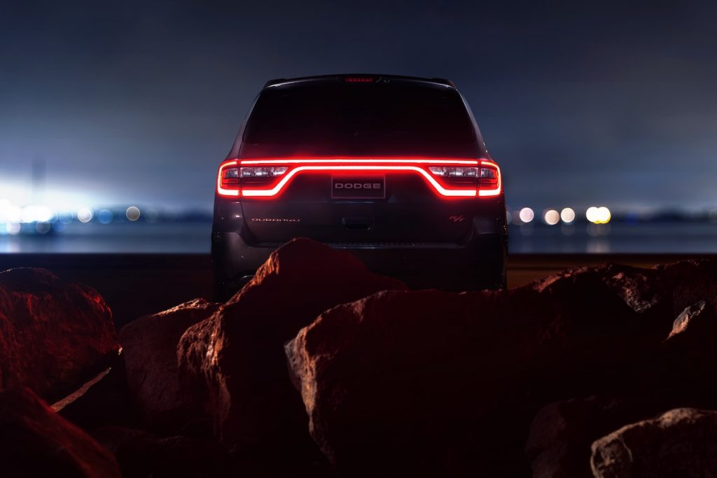 2020 Dodge Durango R/T parked with the taillight glow