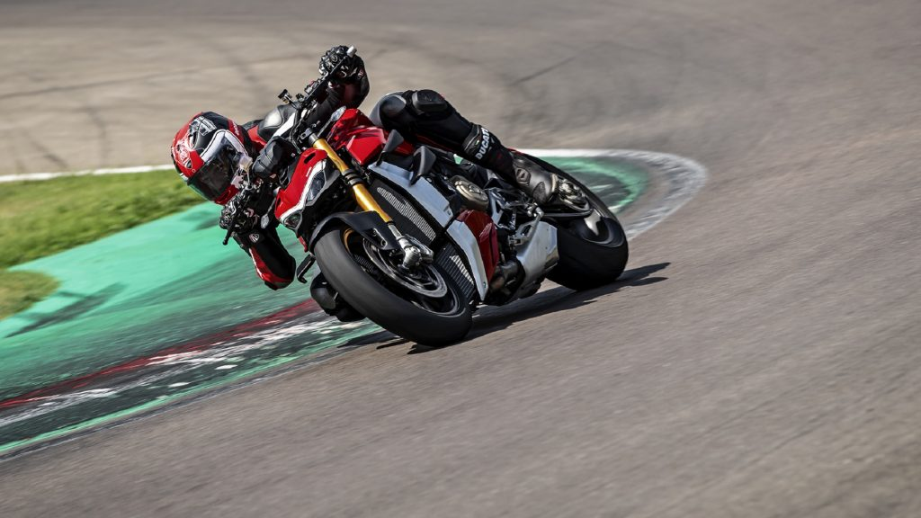The 2020 Ducati Streetfighter V4 S takes a corner on a racetrack
