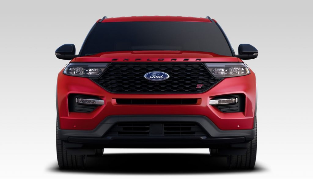 A head-on view of a red 2020 Ford Explorer ST SUV