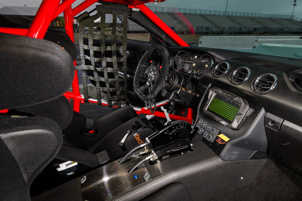 The stripped-down interior of the 2020 Ford Mustang Cobra Jet 1400
