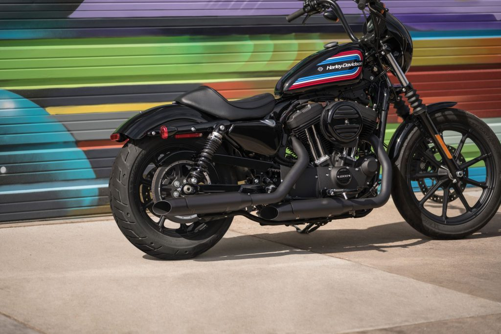 A black 2020 Harley-Davidson Iron 1200 Sportster