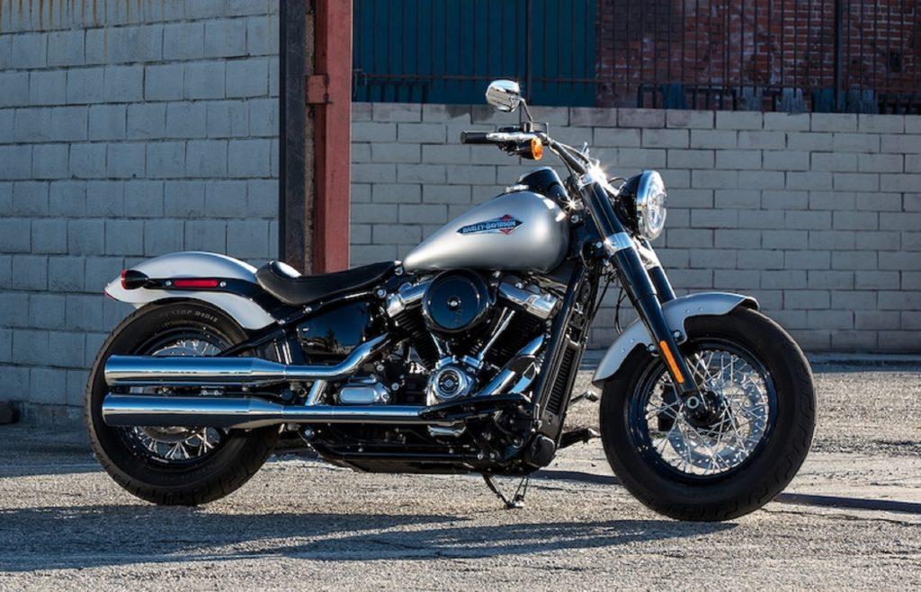 A silver-tanked 2020 Harley-Davidson Softail Slim