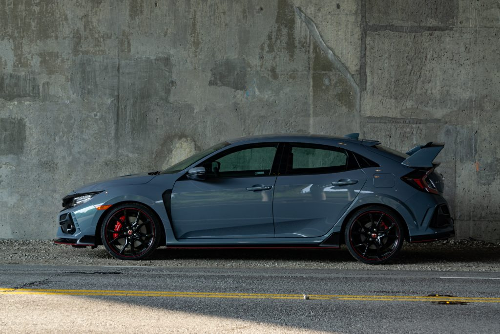 A gray 2020 Honda Civic Type R against a concrete wall