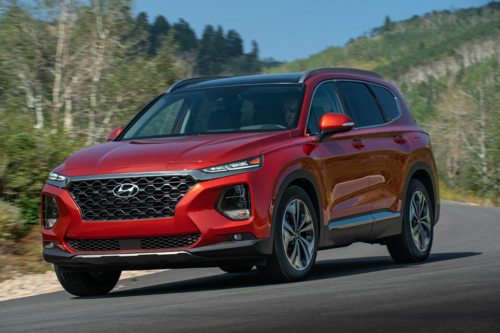 2020 Hyundai Santa Fe in the road with trees