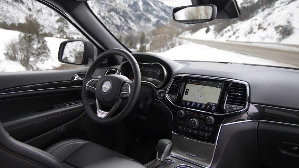 The black interior of a 2020 Jeep Grand Cherokee