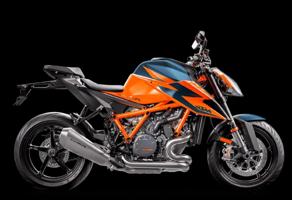 An orange-and-blue 2020 KTM 1290 Super Duke R