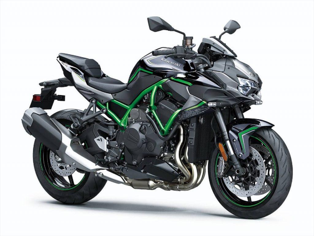 A black 2020 Kawasaki Z H2 with a green trellis frame
